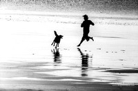 Person with Dog Silhouette Running